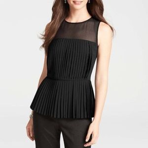 Ann Taylor Black Pleated Peplum Bouse
